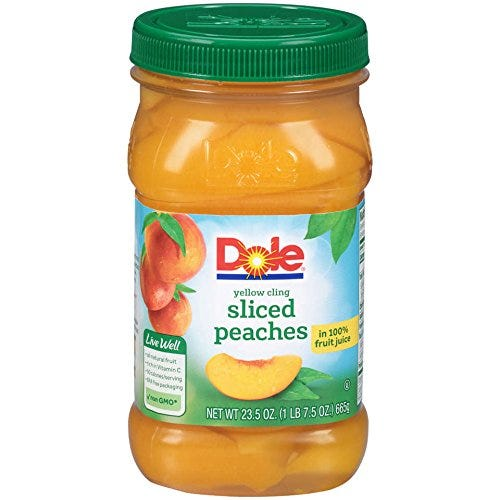 Dole, Yellow Cling Sliced Peaches in 100% Fruit Juice