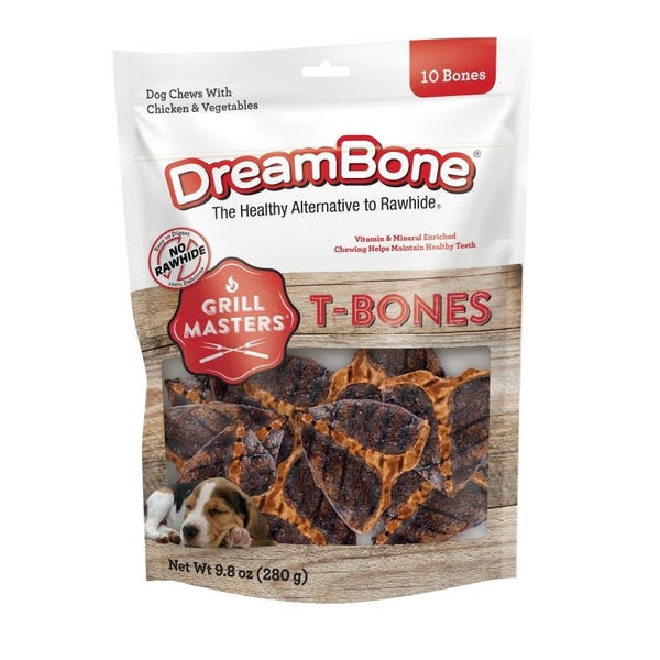 DreamBone Grill Masters T-Bones, Rawhide-Free Chews For Dogs