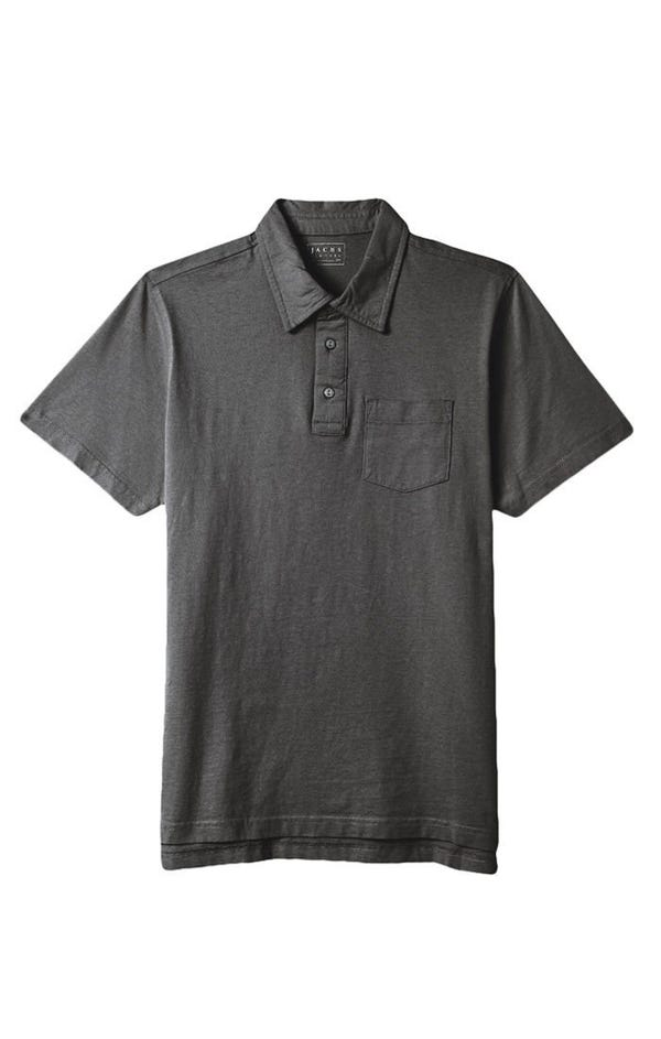 Dark Heather Grey Sueded Cotton Polo