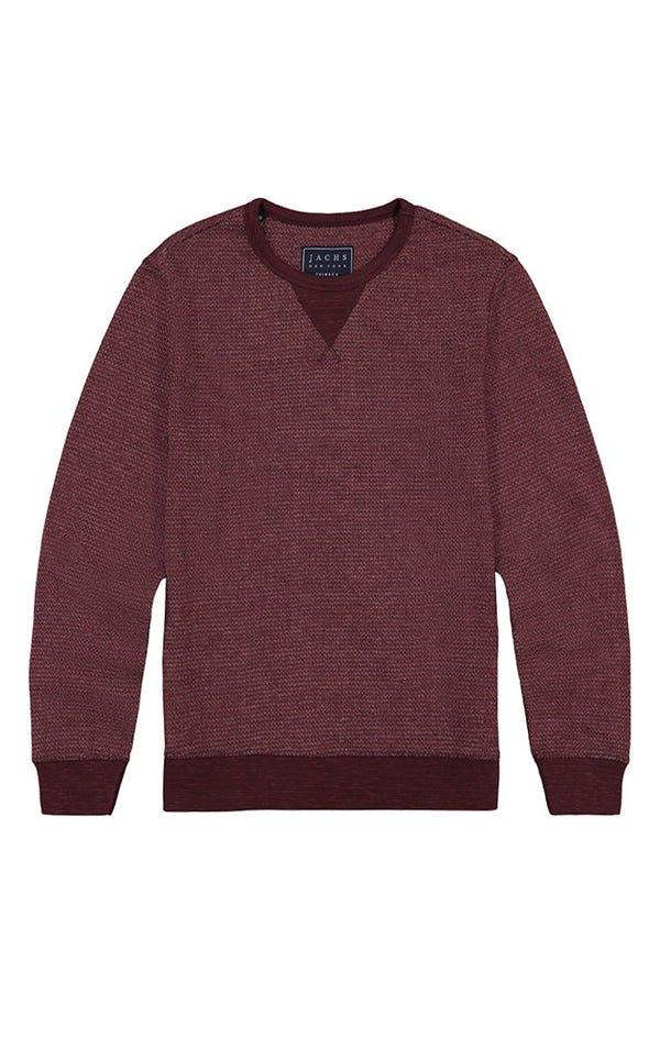 Burgundy Striped Fleece Crewneck Sweatshirt