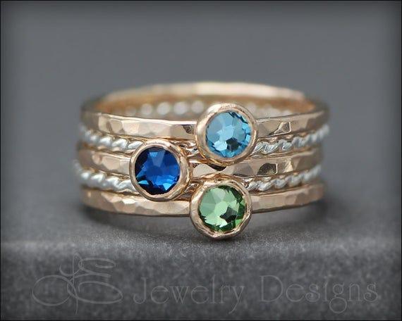 Birthstone Ring Set - 3 stone
