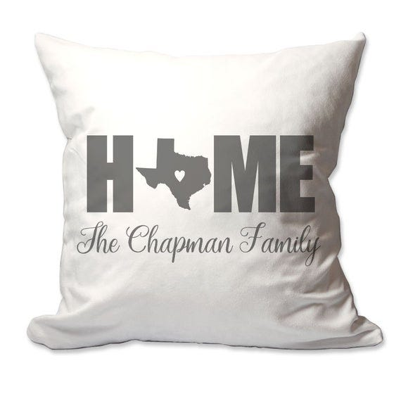 Personalized Texas Home with Heart Throw Pillow
