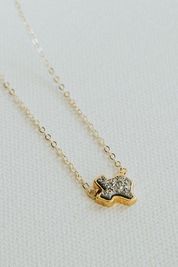 Silver Texas Druzy Necklace