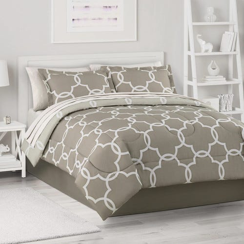 Neutral Trellis Comforter Set with Sheets