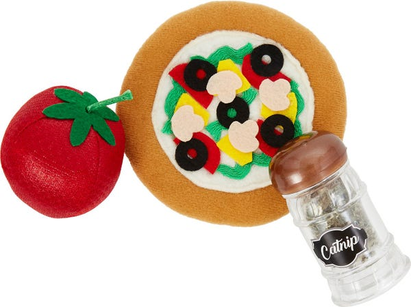 Frisco Plush Pizza Party Cat Toy with Catnip Shake Cat Toy