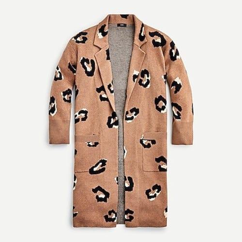 J.Crew: Ella Open-front Long Sweater-blazer In Leopard For Women