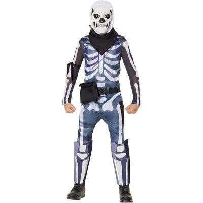 Kids' Fortnite Skull Trooper Halloween Costume Jumpsuit (with 5 Accessories)
