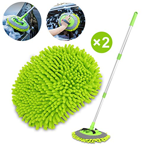 """2 in 1 Chenille Microfiber Car Wash Brush Mop Mitt with 45"""" Aluminum Alloy Long Handle, Car Cleaning Kit Brush Duster, Not Hurt Paint Scratch Free Cleaning Tool Dust Collector Supply for Washing Truck"""