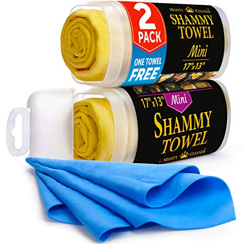 Premium Chamois Cloth for Car - 2 Pack - Mini Car Shammy Towel (17 x 13 inches) - (Two Tubes + One Extra Chamois Towel)