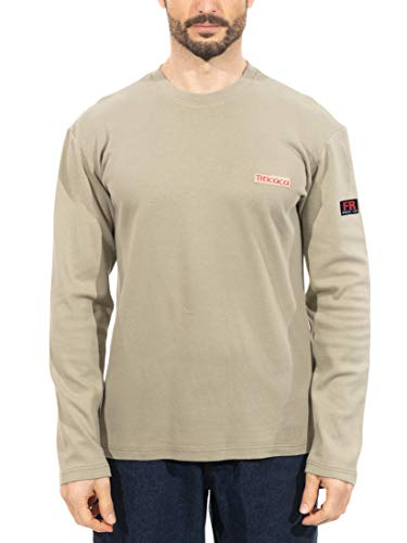 Titicaca FR Workwear Flame Resistant 7oz 100% Cotton Men's Pre-Washed Long Sleeve T-Shirts, Khaki, Large