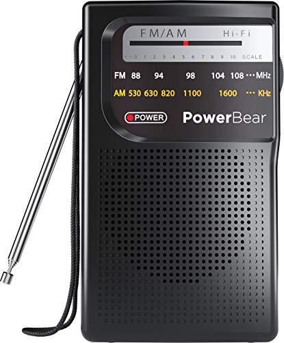 PowerBear Portable Radio | AM/FM, Battery Operated, Long Range (Black)