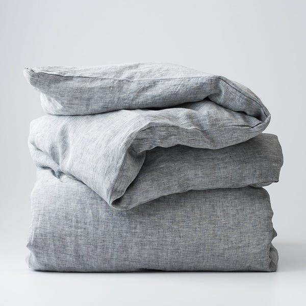 Gray Linen Duvet Cover