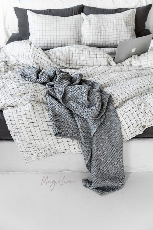 Light gray waffle blanket