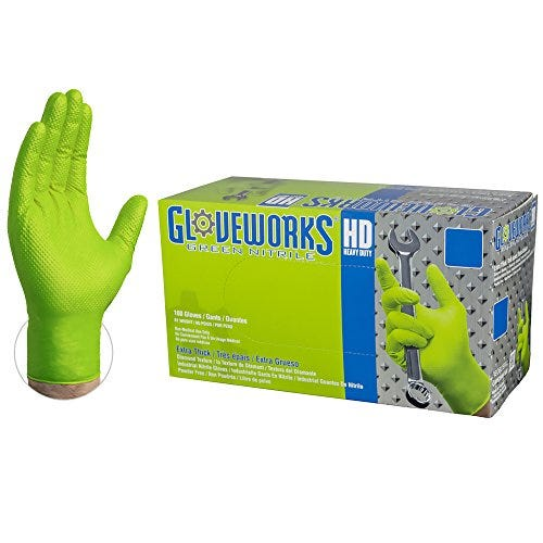 AMMEX Gloveworks HD Industrial Green Nitrile Gloves with Diamond Texture Grip, Box of 100, 8 mil, Size Medium, Latex Free, Powder Free, Textured, Disposable, GWGN44100-BX