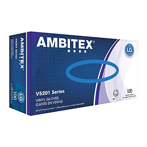 Ambitex Large Vinyl Gloves V5201 Series 100 Count