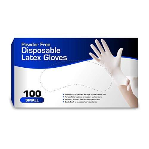 Disposable Latex - Powder Free, Rubber, Non Sterile, Ambidextrous - 100 box   Small