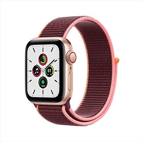 New Apple Watch SE (GPS + Cellular, 40mm) - Gold Aluminum Case with Plum Sport Loop