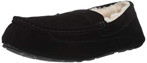Amazon Essentials Men's Leather Moccasin Slipper, Black, 13 M US