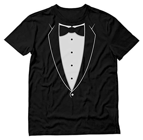 Printed Tuxedo Tshirt with Bow Tie Suit Funny Men Tee Shirt Medium Black