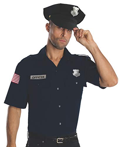 Rubie's Heroes And Hombres Police Uniform Shirt And Hat Costume, Blue, X-Large