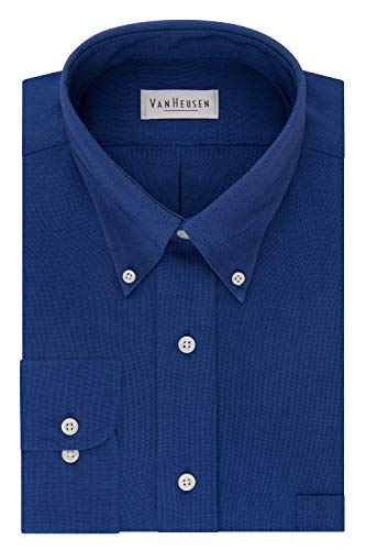 Van Heusen Men's Regular Fit Oxford Button Down Collar Dress Shirt, English Blue, Large