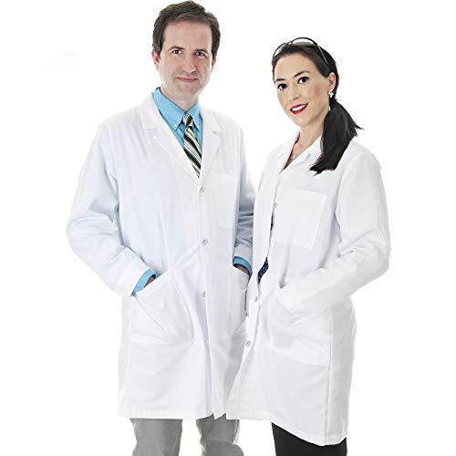 Talvania Lab Coat Men Women White Unisex Lab Coats Cotton Laboratory Long Sleeve Coats
