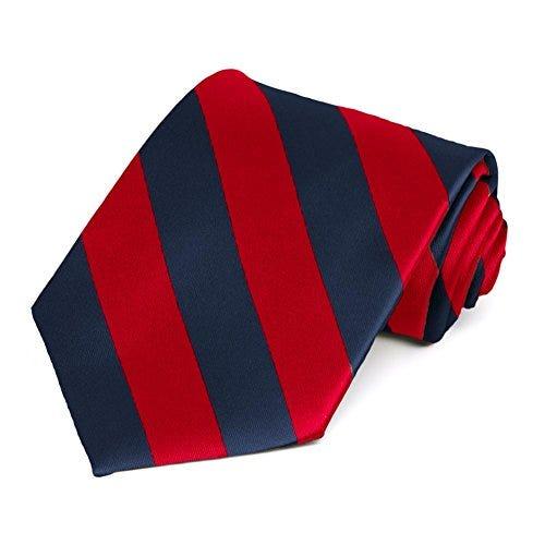 TieMart Red and Navy Blue Striped Tie