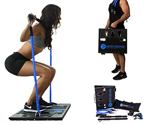 BodyBoss Home Gym 2.0 - Full Portable Gym Home Workout Package + 2 Extra Bands, Blue