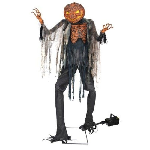 7.1ft Halloween Scorched Scarecrow With Fog Machine
