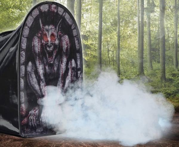 Tombstone Gargoyle Foggy Halloween Decoration