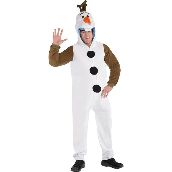 Adult Zipster Olaf One Piece Costume Plus Size - Frozen