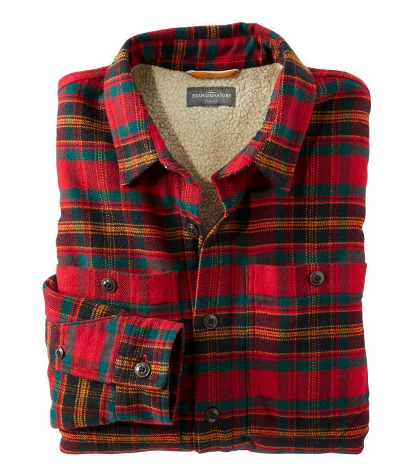 Men's Signature Organic Flannel Shirt, Fleece-Lined