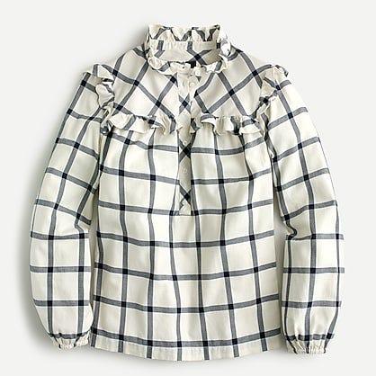 J.Crew: Ruffle Popover Top In Flannel For Women