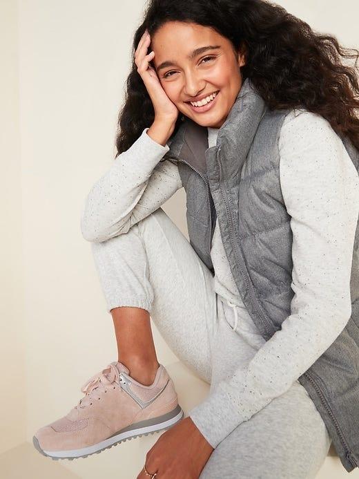 Frost-Free Textured Herringbone Puffer Vest for Women