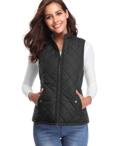 fuinloth Women's Padded Vest, Stand Collar Lightweight Zip Quilted Gilet Black XL