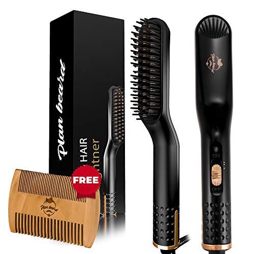 Beard Straightener for Men and Heated Beard Straightening Brush - Multifunctional Electric Beard Comb and Heated Beard Brush with Dual Voltage 110-240V, for All Hair Types, Great for Travel