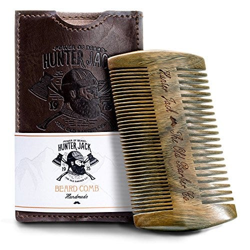 "Beard Comb Kit for Men - Great for Head Hair, Beard Grooming & Mustache - Handmade Premium Wood - Fine Dual Action Teeth - Beard Care Kit for Men, Gift ""Hunter Jack"" PU Leather Case - Free eBook"