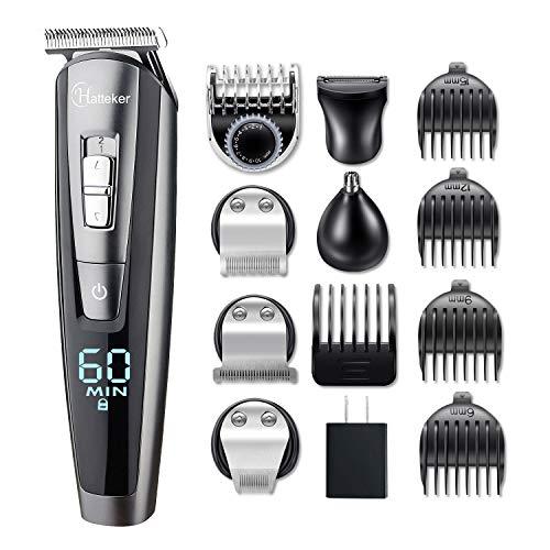 Hatteker Hair Clipper Beard Trimmer Kit for Men Cordless Hair Mustache Trimmer Hair Cutting Groomer Kit Precision Trimmer Waterproof USB Rechargeable 5 in 1