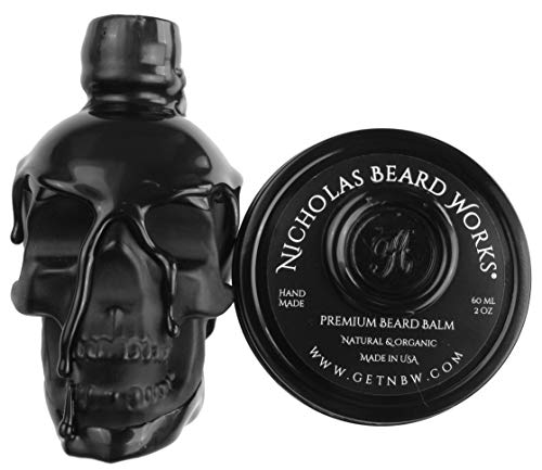 Nicholas Beard Works Limited Edition Wagner Premium Handmade Beard Oil Conditioner 2oz And Matching Balm 2oz All Natural Custom Gift Skull Bottle