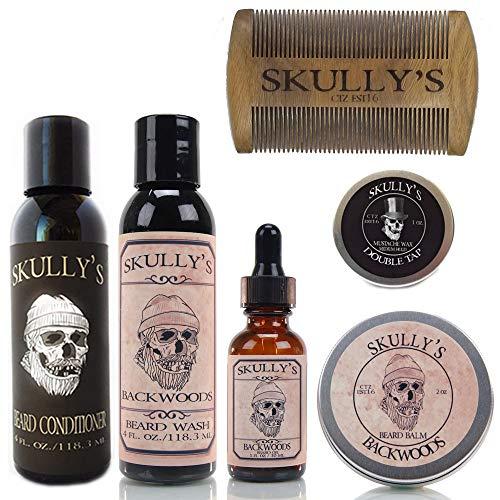 Skully's Ultimate Backwoods Beard Care Kit (Woodsy Eucalyptus, Cedar wood, Fir needle and Dark patchouli Scent) - Beard Oil, Beard Balm, Beard Comb, Beard Conditioner, Mustache Wax for Men