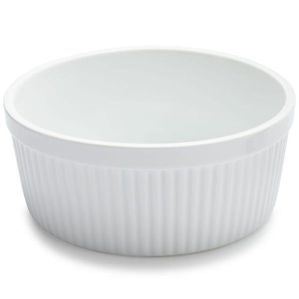 Sur La Table Porcelain Round Soufflé Dish with Ribbed Sides