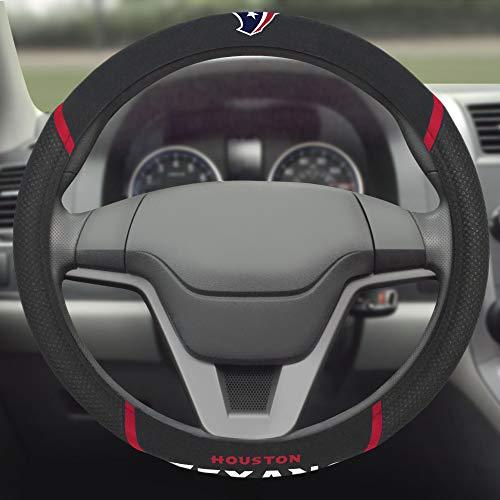 "FANMATS NFL Houston Texans Embroidered Steering Wheel Cover, Black, Universal 15"" Diameter"