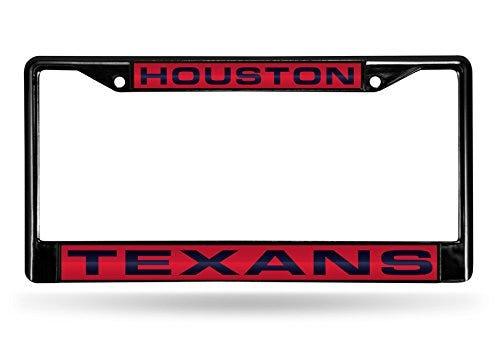 NFL Rico Industries Laser Cut Inlaid Standard Chrome License Plate Frame, Houston Texans
