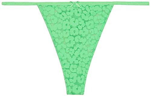 Savage X Fenty Women's Reg Leopard Lace Thong, Green Emerald, M