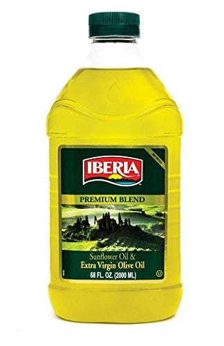 Iberia Extra Virgin Olive Oil and Sunflower Oil Blend (2 Liter) High Heat Frying, All Purpose Cooking Oil, Baking & Deep Frying Oil from Spain, Kosher