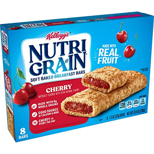 Kellogg's Nutri-Grain, Soft Baked Breakfast Bars, Cherry, Made with Whole Grain, 8 Count (10.4 oz) (Pack of 6- total 48 bars)