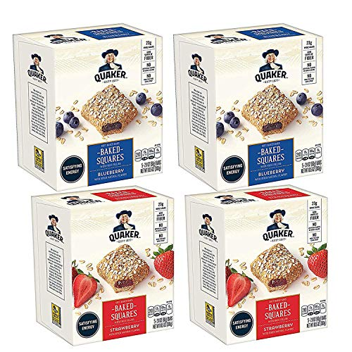 Quaker Baked Squares, Soft Baked Bars, Strawberry & Blueberry (20 Pack)Packaging May Vary