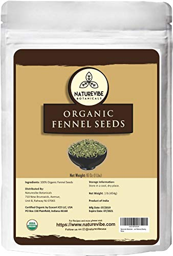 Naturevibe Botanicals Organic Fennel Seeds 1lb, Foeniculum Vulgare | Gluten Free & Non-GMO | Adds Flavor | Add to Healthy snacks