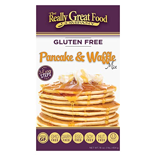 Really Great Food Company – Gluten Free Pancake & Waffle Mix - 16 ounce box - No Nuts, Soy, Eggs, Dairy - Vegan , Kosher, Non-GMO and Plant Based