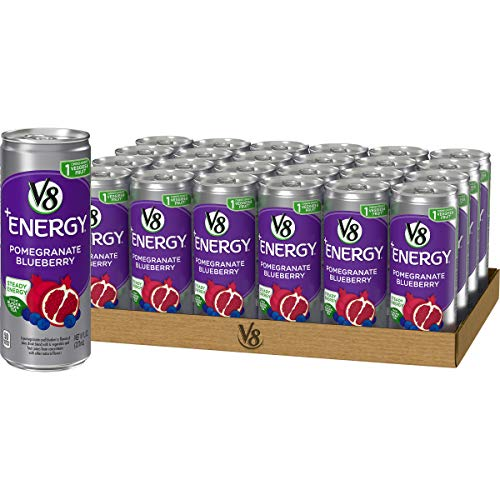 V8 +Energy, Healthy Energy Drink, Natural Energy from Tea, Pomegranate Blueberry, 8 Ounce Can (Pack of 24)